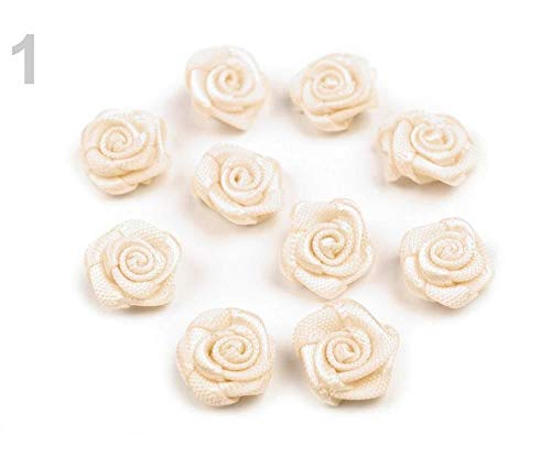 10pc 1 Almond Oil Decorative Satin Rose Ø10mm, Sew-on Flower Appliques, Clothing, Footwear and Accessories, Haberdashery