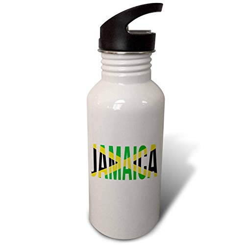 Souvenir Straw - 3dRose Macdonald Creative Studios - Caribbean - Jamaica Souvenir in The Colors of The Flag of Jamaica. - Flip Straw 21oz Water Bottle (wb_295588_2)