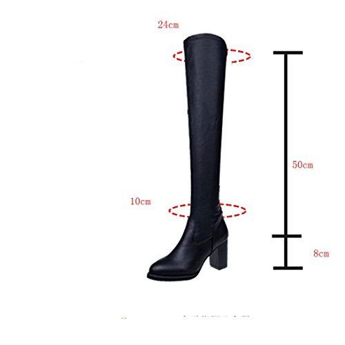 Knee High Slim Long Chunky Tenworld Heels Boots Over Boots Women's Black The ZqUwq5Y