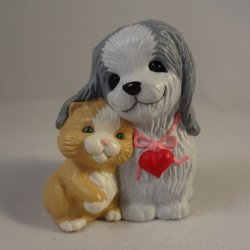 Valentines Dog and Kitten 1989 Hallmark Merry Miniature