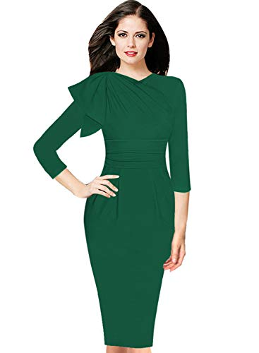 VFSHOW Womens Celebrity Elegant Ruffle Ruched Cocktail Party Bodycon Dress 1056 GRN S Green
