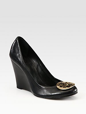f0e9725b006f Amazon.com: Tory Burch Sophie Leather Logo Wedge Pumps - Black: Shoes