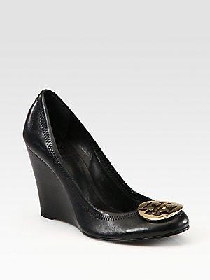 fecbb1f87 Amazon.com  Tory Burch Sophie Leather Logo Wedge Pumps - Black  Shoes