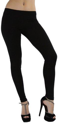 ToBeInStyle Women's Skinny Fit Full-Length Cotton Leggings - Black - L