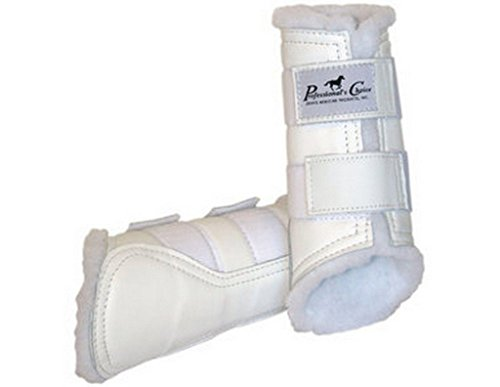 (Professionals Choice Equine Leather Protection Front Boot, Pair (Large, White))