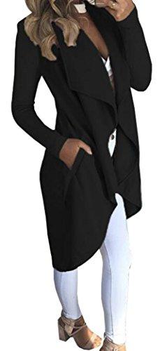 Cardigan Suelto Abrigo Jacket Mujer Elegante Outwear Coat Negro Trench Chaqueta Yeesea qpfzIt