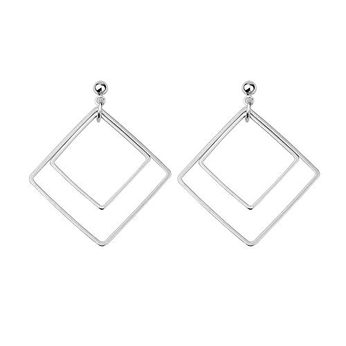 (Autude 925 sterling silver ear pins Double geometric square earrings for Women Fashion Jewelry Gifts)