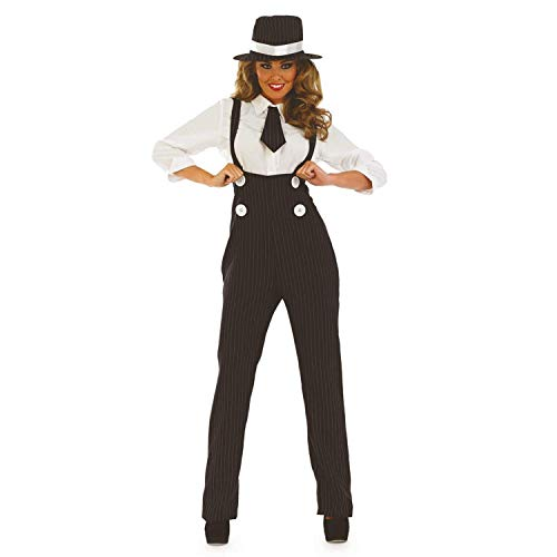 Ladies 1920s Pinstripe Gangster Trousers Fancy Dress Costume Outfit UK 8-30 Plus Size (UK 20-22, -