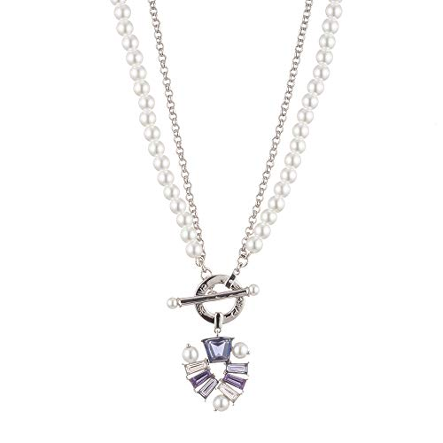 Carolee Women's Two Row Pearl and Stone Toggle Necklace