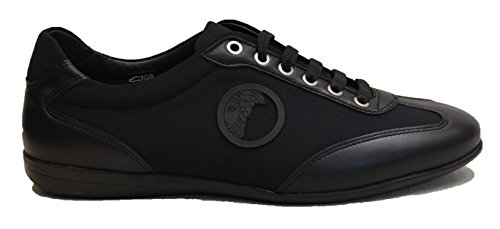 Versace Collection Mens Leather Rubber Medusa Logo Low Top Sneaker Shoes Black