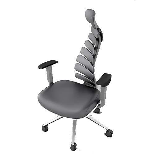 Ergonomic Office Chair, Fish Bone Chair Genuine Leather Boss Chair Office Swivel Chair Home Computer Chair, 360° Rotating Waist