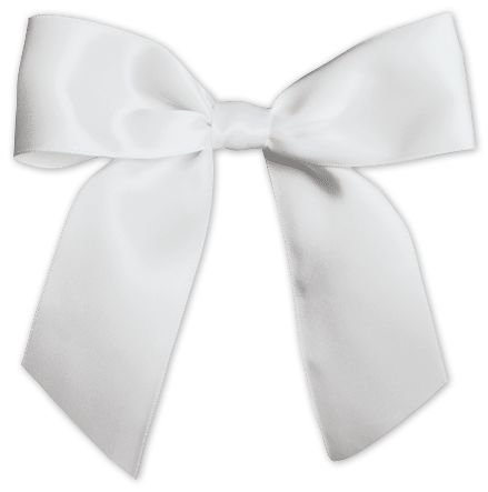 Bows - White Pre-Tied Satin Bows, 7/8