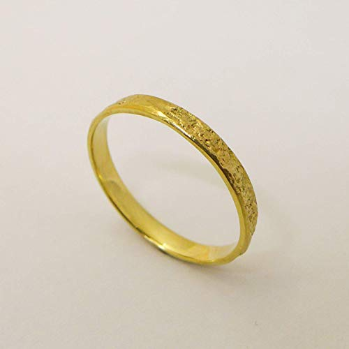 Thin Wedding Band Handmade of 14K /18K Solid Yellow, Rose or White Gold, Artisan Men's and Women's Dainty Rustic Ring