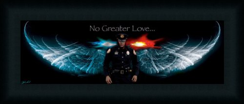 Amazon.com: No Greater Love Police Angel Wings 21x9 Framed Art ...