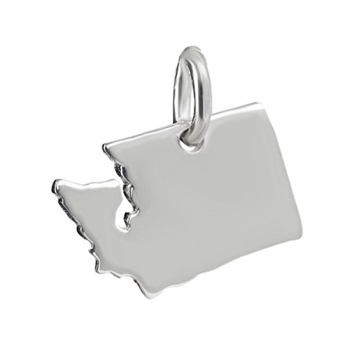 Washington State Charm - 925 Sterling Silver Pacific Northwest Seattle Tiny - Jewelry Accessories Key Chain Bracelets Crafting Bracelet Necklace Pendants