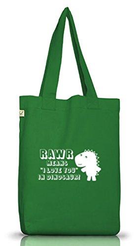 Shirtstreet24, Dino Love, Jutebeutel Stoff Tasche Earth Positive (ONE SIZE) Moss Green