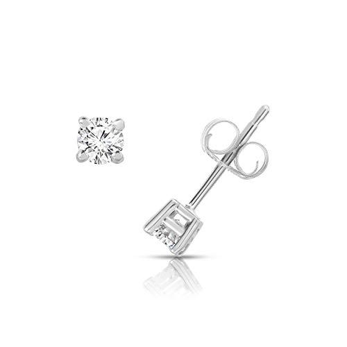 NATALIA DRAKE 10K White Gold Diamond Round Solitaire 4 Prong Stud Earrings (0.25CTW) ()