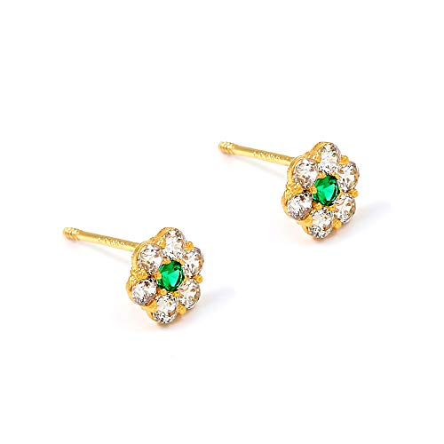 Balluccitoosi 14k Gold Tiny Stud Earrings for Women & Girls - Real Hypoallergenic, Small & Minimalist (14k Green Flower CZ Stud Earrings)