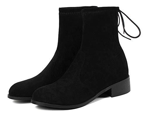 Lacets Rond Noir Mode Femme Bottine Talon Bout Aisun Avec Carré wF8T6