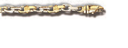 TEX 14K Solid Gold Heavy Handmade Link Men'S Bracelet 6 Mm 8''-9'' (9 Inches) by TEX