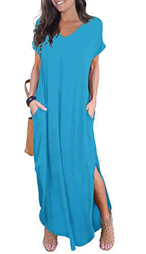 GRECERELLE Women's Casual Loose Pocket Long Dress Short Sleeve Split Maxi Dress Nile Blue-S (Dresses For Women With Boots)