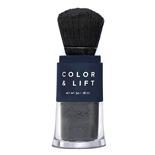 Color & Lift with Thickening Powder - Available in 8 Hair Colors - Root Cover Up - Temporary Hair Coloring Brush that Refreshes Hair - Black