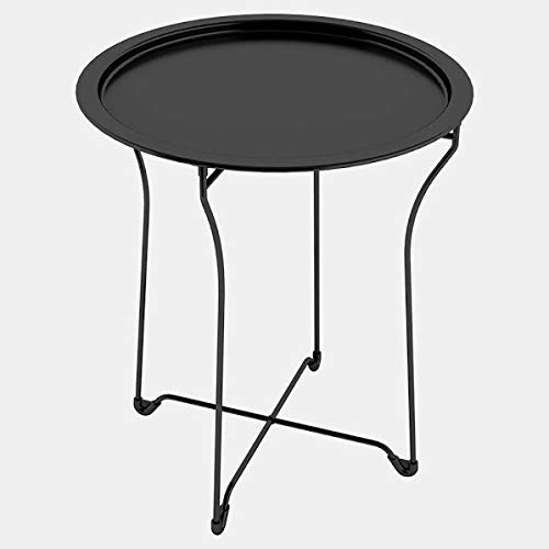 Steel Side End Table with Curved Edge - End Table with Removable Round Tray Top - Black
