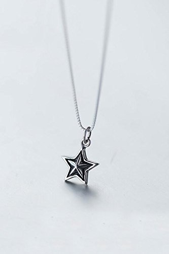 s925 Silver Star Necklace Pendant Thai Silver Retro Five-Pointed Star National Short Clavicle Chain