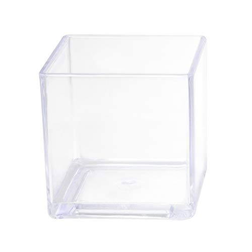 Royal Imports Flower Acrylic Vase Decorative Centerpiece for Home or Wedding Break Resistant - Cube Shape, 4
