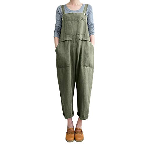 RAISINGTOP Women Overalls and Jumpers Elastic Waist Dungarees Linen Cotton Pockets Rompers Jumpsuit Denim Shorts Pants (A-Army Green, M)