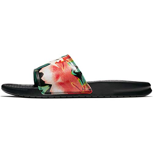 Nike Womens Benassi JDI Print Sandals Black/Crimson Tint/Green Glow 618919-019 (6 B(M) US) ()