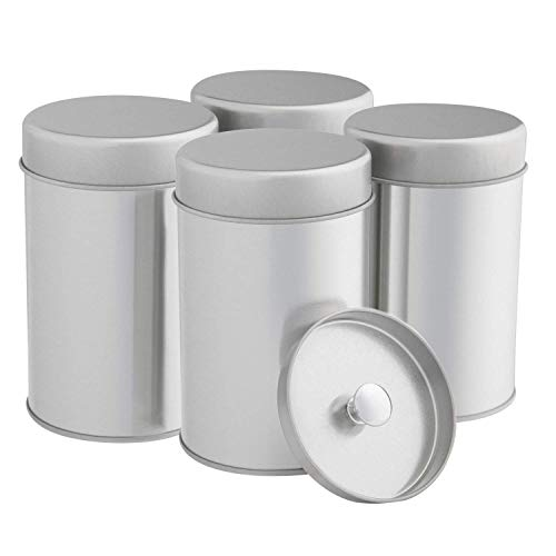 Tea Tins Canister Set with Airtight Double Lids for Loose Tea - Small Kitchen Canisters for Tea Coffee Sugar Storage, Loose Leaf Tea Tin Containers by SilverOnyx - Tea Canisters - 4 pc (Canister Set Tea)