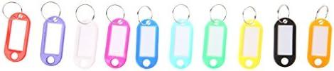 Gwxevce Lot von 10 Kunststoff Schlüsselbund Schlüsselspaltring ID Tags Name Card Label Sprache