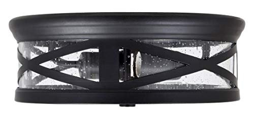 Sylvania 60063 Wellesly Seed Drum Light, LED, Flush Mount, Dimmable, Antique Black