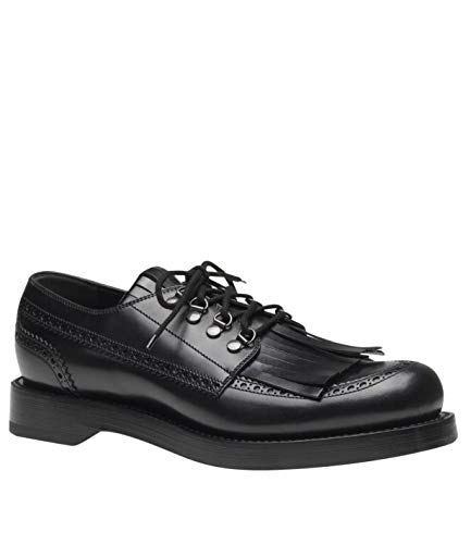 Gucci Lace-up Black Leather Fringed Brogue Shoes 358271 1000 (8 G / 9 US)