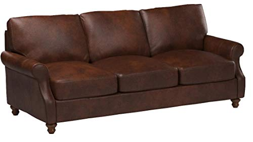Stone & Beam Charles Classic Oversized Leather Sofa, 92″W, Walnut - 6
