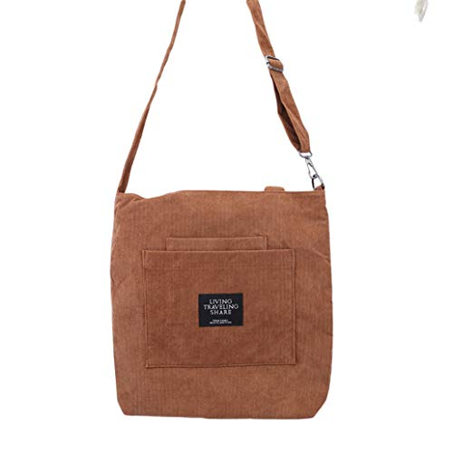 KISSFRIDAY Brown Large Corduroy Women Messenger Tote Handbag Shoulder Crossbody Bag