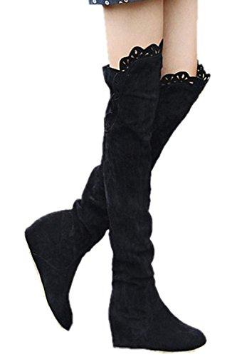 Bottes a talons hauts elastiques - TOOGOO(R)Mode cuisse de Dentelle Au-dessus du genou Chaussures elastiques Bottes a talons hauts noir 37