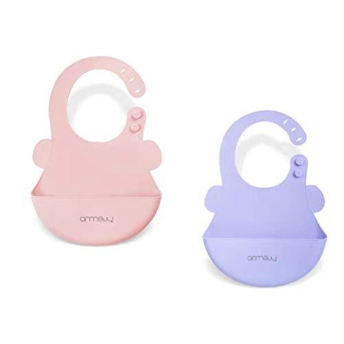 ARRNEW Set of 2 Super Light Silicone Baby Girl Bibs | Waterproof Bibs | BPA Free Bib for Baby Girls | Great Baby Girl Gifts (Purple/Pink)