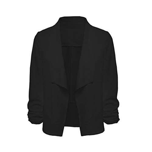 Femme 4 Noir 3 de Avant Ouvert Veste Manteau Cardigan Manches Blazer Travail Court Bringbring XOwS5qTT