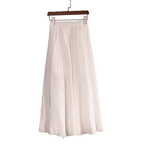 (DESDEMONA Women Full/Ankle Length Pleated Retro Maxi Flax Solid Long Skirt (White))