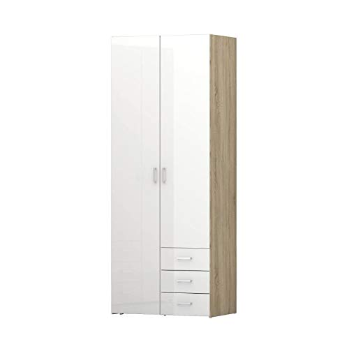SPACE Armoire de chambre style contemporain decor sonoma et laque blanc brillant - L 78 cm AUCUNE 5706887994177