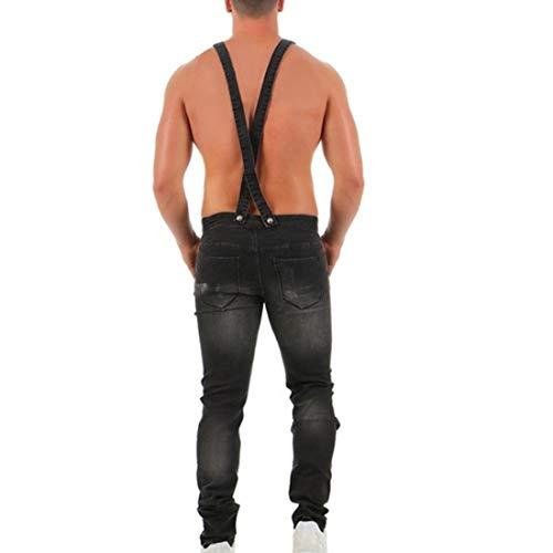 Biker Gris Homme Déchiré Decha Pantalon Denim Combinaison Décontracté Vintage Skinny Salopette Jeans AwnzTPq