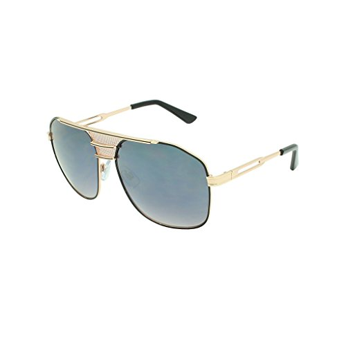 Georgio Caponi Oversized Square Flat Top Aviator Sunglasses (Gold & Black Frame, - Shades Gazelle