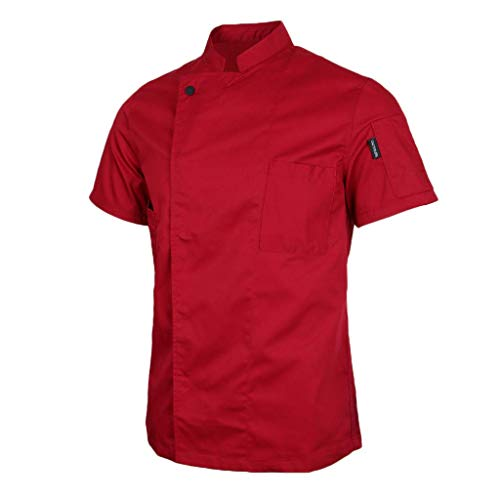 Qkefegfkgr Unisex Cooked Jacket with Concealed Knobs Baker Jacket Gastronomy Chef Clothes Chef Shirt Short Sleeve Waiter Coat Chef Uniform (Color : Rot, Size : Large)