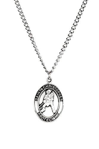 Mens Pewter Saint Christopher Sports Athlete Medal, 1 Inch - Lacrosse