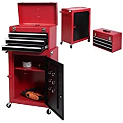 Costway 2pc Mini Tool Chest Protector & Portable Top Rolling Tool Storage Box Cabinet Sliding Drawersand with Wheels Cabinet Storage Box Organizer. Garage Toolbox for Mechanics, Carpinter, Plumber Job