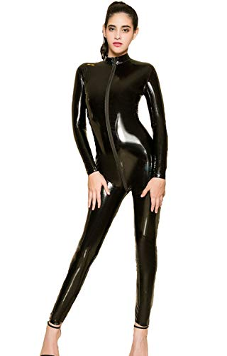 Womens Patent Leather Catsuit Teddy Clubwear Open Crotch Jumpsuits Sexy Lingerie Zipper Corset Cosplay (One Size, Black)