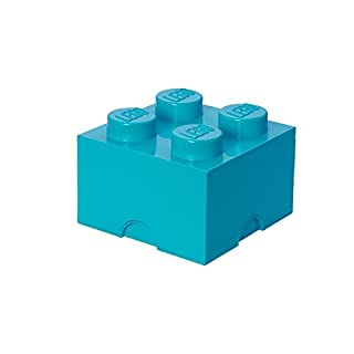 LEGO Brick 4 Knobs Stackable Storage Box, Medium Azur, 5.7 Litre