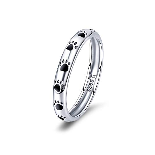 BISAER S925 Sterling Silver Puppy Dog Cat Paw Ring, Pet Print Enamel Ring for Women Girls Size 8.